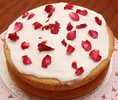rose and lemon cake with semi dried roses and fragrant rose petal jam filling